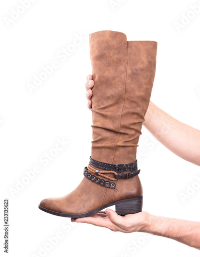 Women's high leather boot - 233135623
