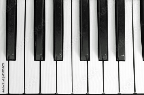 black and white keys of a piano - 233136471