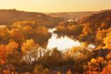 Autumn sunrise on the banks of the river, beautiful fall season landscape - 233142242