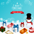 merry christmas and happy new year,isometric snow man gift boxes vector
