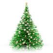 Decorazione natalizia. Albero di Natale verde con decorazioni argento..