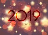 Shiny bokeh Happy New Year 2019 greeting card. - 233148228