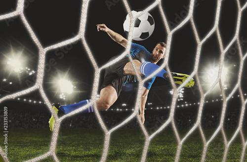 Soccer player at stadium.
