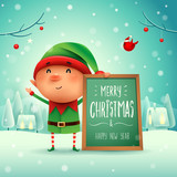 Merry Christmas! Little elf with message board in Christmas snow scene winter landscape. - 233157275