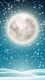Winter background, big moon on winter sky - 233161637