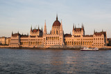 Budapest parliament building at sunset golden time with blue and Danube river - 233166689