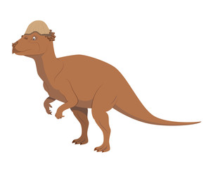 Pachycephalosaurus vector illustration isolated in white background. Dinosaurs Collection. © asantosg