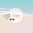 Vector illustration of a summer template in top view perspective of a white sandy beach and blue ocean with sunglasses and shorts laying on the sand accompanied with round space for text