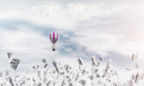 Flying hot air balloon in the air. - 233167452