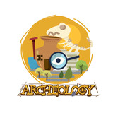 archeology museum with typographic design. icon of archeologu - vector - 233167838