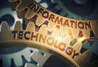 Leinwandbild Motiv Information Technology on the Golden Gears. 3D Illustration.