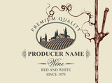 Vector label for red and white wine with rural landscape of vineyards and Italian village in oval frame and with grapevine in retro style - 233176093