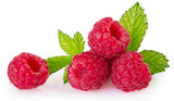 Fresh raspberry with leaf on white background