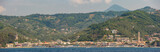 Panoramic view of the seaside town of Moneglia on the Ligurian coast in Italy, as seen from the sea