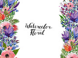 Watercolor Flower Border - 233184030