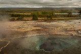 Icelandic landscape.Hot geyser spouting out of the ground   - 233184888