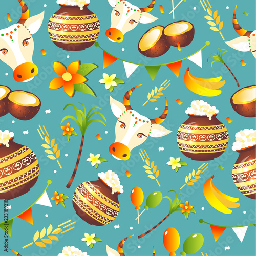 South Indian Festival Pongal Background Template Design Seamless pattern - Pongal Festival Background - 233189218