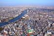Tokyo city, Japan. Aerial cityscape with Taito, Arakawa and Sumida wards.