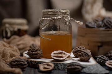 wonderful honey in a glass jar