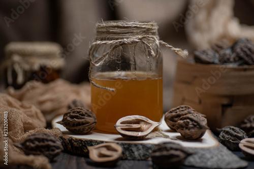 Poster wonderful honey in a glass jar
