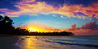 Caribbean sunset on tropical beach with coconut palm trees . - 233203091