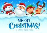 Merry Christmas! Happy Christmas companions with big signboard in Christmas snow scene winter landscape. - 233208646