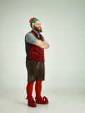The happy smiling friendly man dressed like a funny gnome or elf posing on an isolated gray studio background. The winter, holiday, christmas concept - 233212022