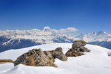 beautiful landscape in alpine european mountains covered with snow