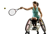 one caucasian young handicapped tennis player woman in welchair sport tudio in silhouette isolated on white background - 233217411