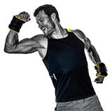 one caucasian fitness man exercising cardio boxing exercises in studio  isolated on white background - 233218451