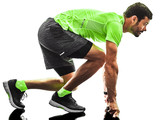 one caucasian man runner running jogging jogger silhouette isolated on white background - 233220423