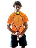 one caucasian hispanic tennis player man in studio silhouette isolated on white background - 233220641