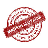 Red round stamp made in Slovakia. Vector