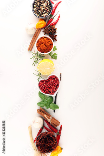 Spices and herbs on table. Food and cuisine ingredients. - 233235853