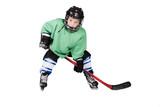 Boy playing ice hockey. Little hockey player isolated on white background. - 233237621