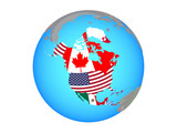 North America with national flags on blue political globe. 3D illustration isolated on white background.