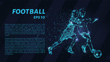 Fototapeta Sport - Football of blue glowing dots. Particle football. © newrossosh
