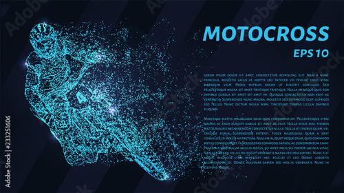 Motocross of blue glowing dots. Motocross vector illustration.