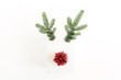 Christmas, New Year minimal concept. Christmas deer symbol made of gift box, fir branches and red decoration isolated on white background. Flat lay, top view.