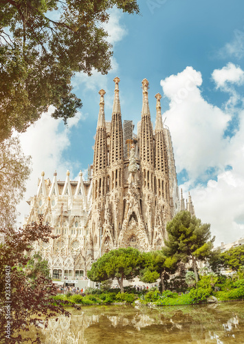 Leinwanddruck Bild BARCELONA, SPAIN - 11 JULY 2018: Sagrada Familia Cathedral. It is main landmark of Barcelona and designed by architect Antonio Gaudi, being build since 1882