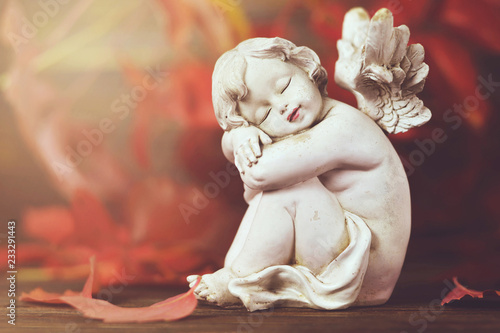 Angel and red autumn leaves - 233291443