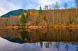 Leinwandbild Motiv Fall colors reflections at lake Cowichan in Vancouver Island