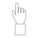 Hand pointing symbol black and white - 233299237