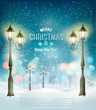 Christmas Holiday Background With Evening Winter Landscape and lamppost. Vector