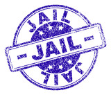 JAIL stamp seal watermark with distress texture. Designed with rounded rectangles and circles. Blue vector rubber print of JAIL title with scratched texture. - 233302699