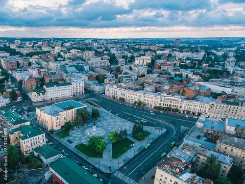 Poster Aerial view of Constitution Square in Kharkiv, Ukraine