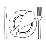 Roasted chicken on dish with cutlery black and white - 233307243
