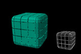 Abstract polygonal cube with cuts. 3d Vector illustration. - 233320427