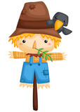 a vector of a cute scarecrow with a tiny crow - 233323669
