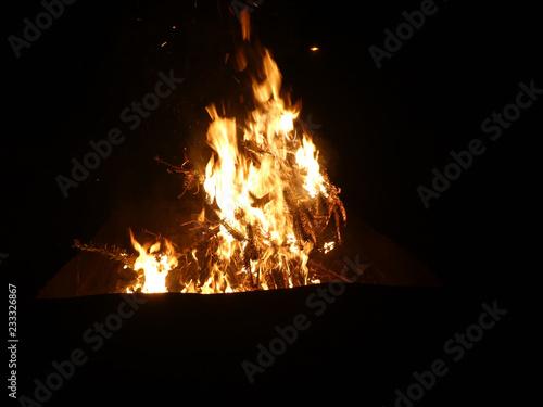 Offenes Feuer mit brennendem Tannenbaum - 233326867